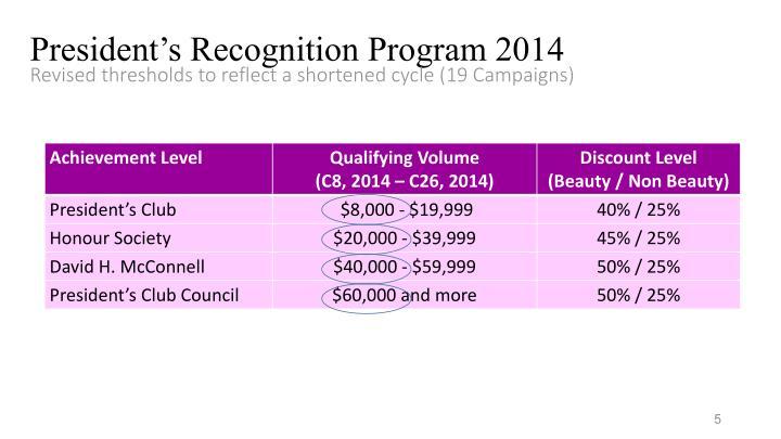 President's Recognition Program 2014