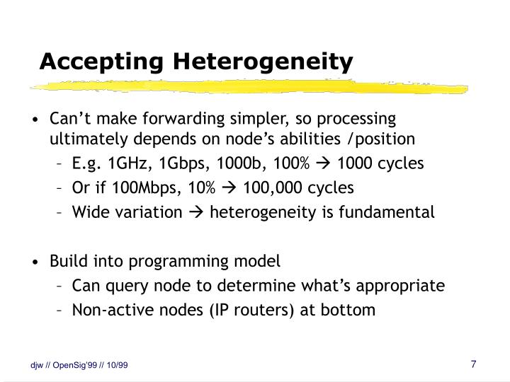 Accepting Heterogeneity