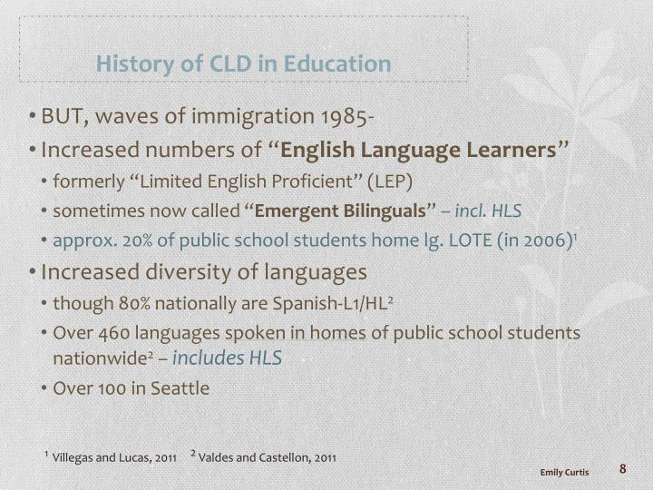History of CLD in Education