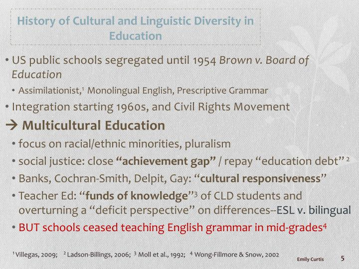 History of Cultural and Linguistic Diversity in Education