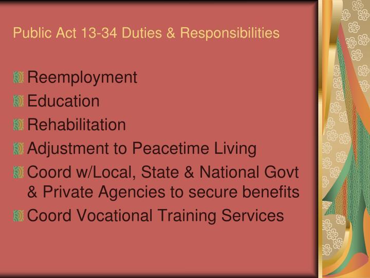Public Act 13-34 Duties & Responsibilities