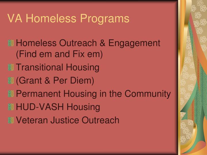 VA Homeless Programs
