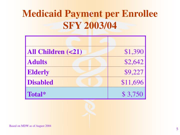Medicaid Payment per Enrollee SFY 2003/04