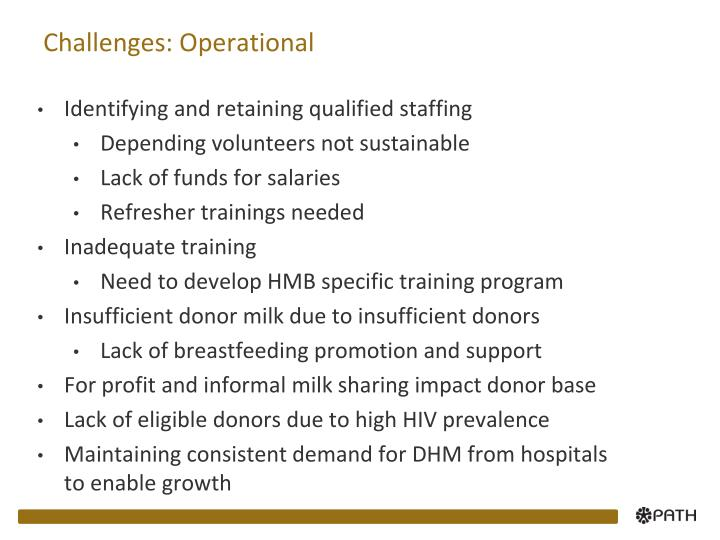 Challenges: Operational