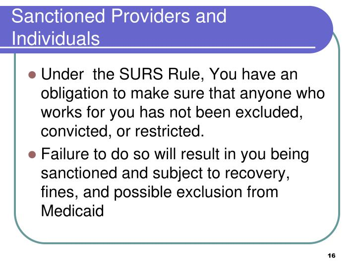 Sanctioned Providers and Individuals