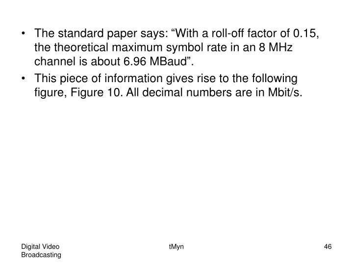 """The standard paper says: """"With a roll-off factor of 0.15, the theoretical maximum symbol rate in an 8 MHz channel is about 6.96 MBaud""""."""