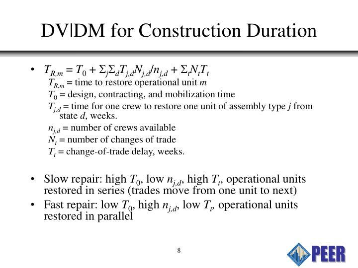 DV DM for Construction Duration