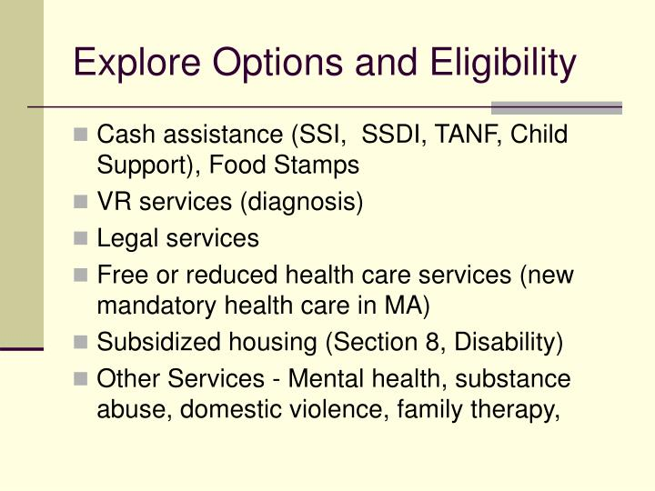 Explore Options and Eligibility