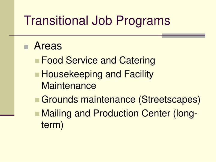 Transitional Job Programs