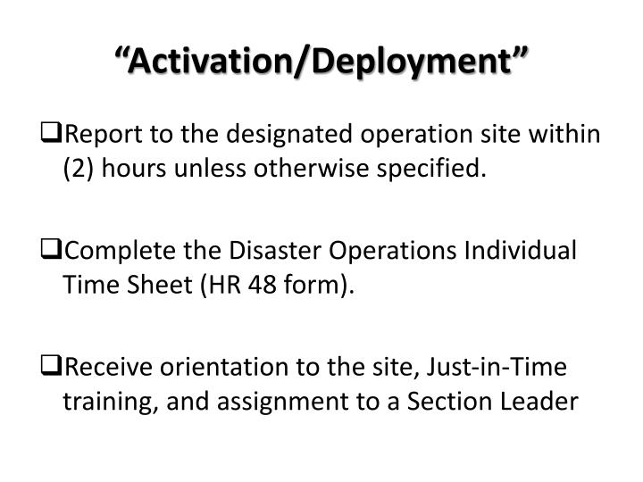 """Activation/Deployment"""