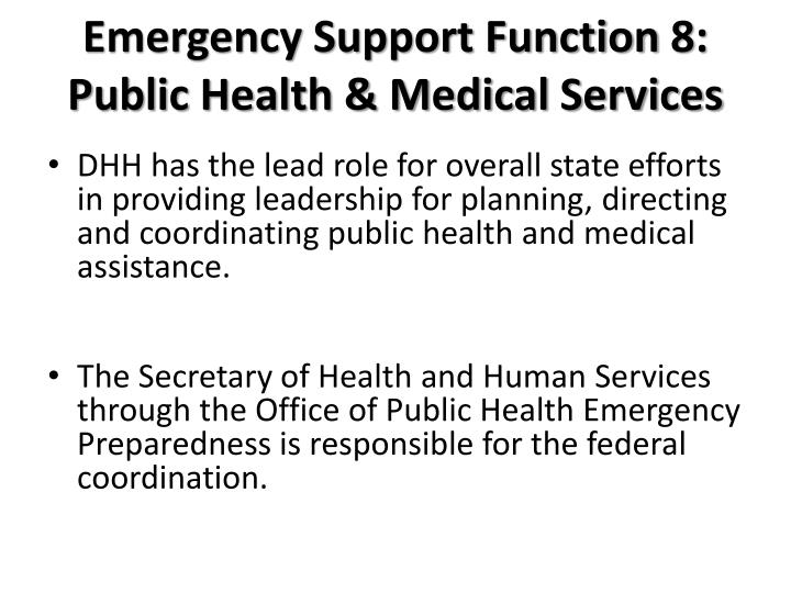 Emergency Support Function 8: