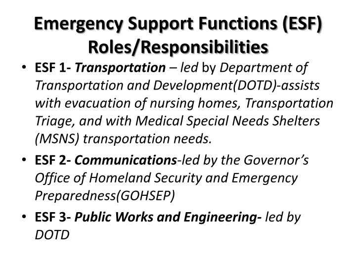 Emergency Support Functions (ESF) Roles/Responsibilities