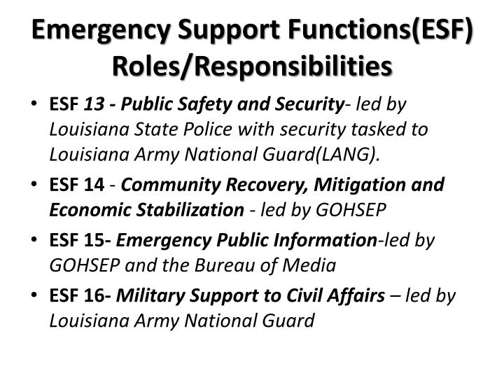 Emergency Support Functions(ESF) Roles/Responsibilities
