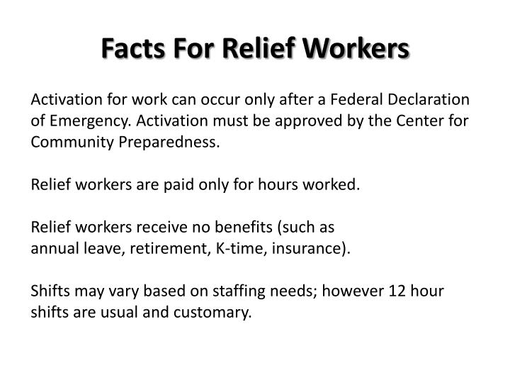 Facts For Relief Workers