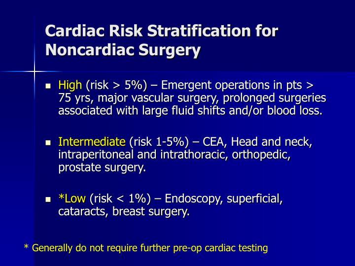 Cardiac Risk Stratification for Noncardiac Surgery