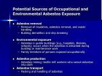 potential sources of occupational and environmental asbestos exposure2