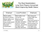 the real stakeholders long term players concerned about improving health status