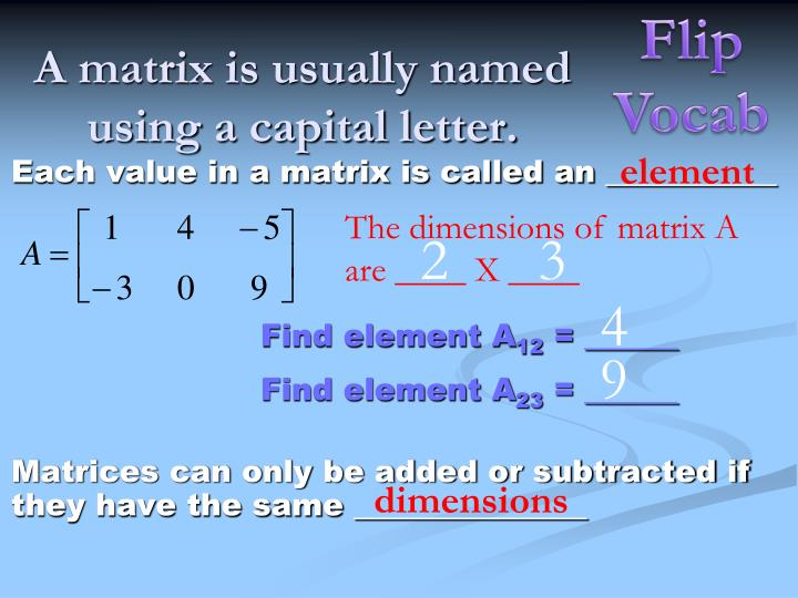 A matrix is usually named using a capital letter
