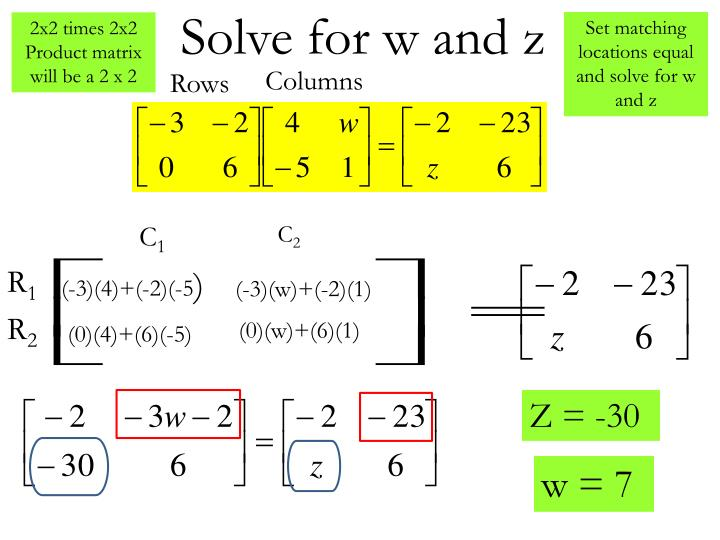 Solve for w and z