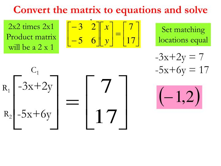 Convert the matrix to equations and solve