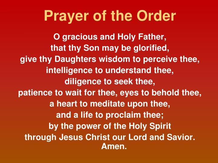 Prayer of the Order