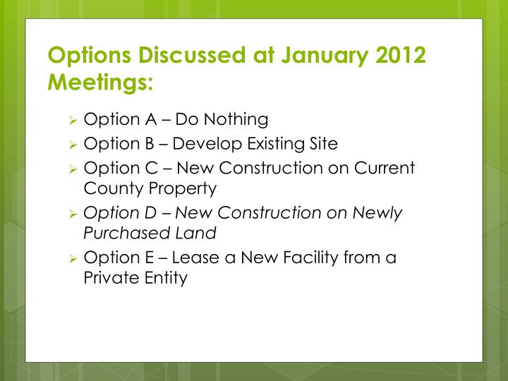 Options Discussed at January 2012 Meetings: