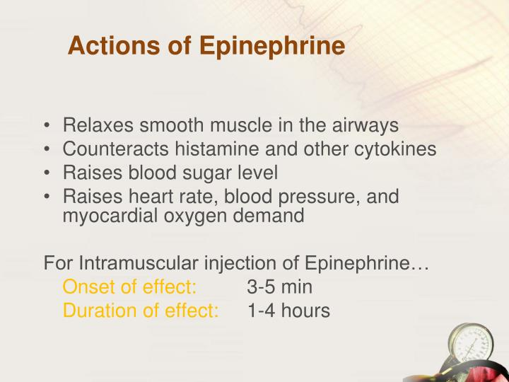 Actions of Epinephrine