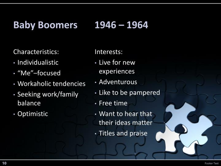 Baby Boomers       1946 – 1964