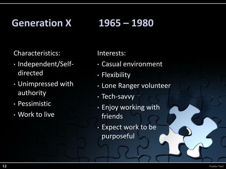 Generation X           1965 – 1980