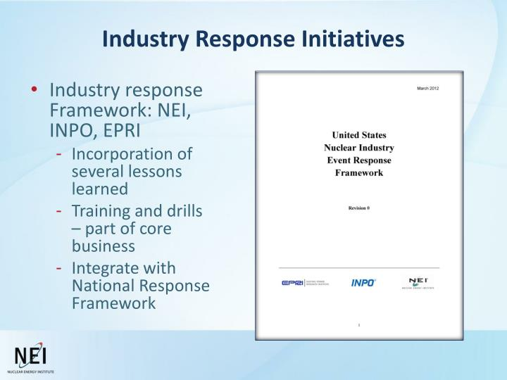 Industry Response Initiatives