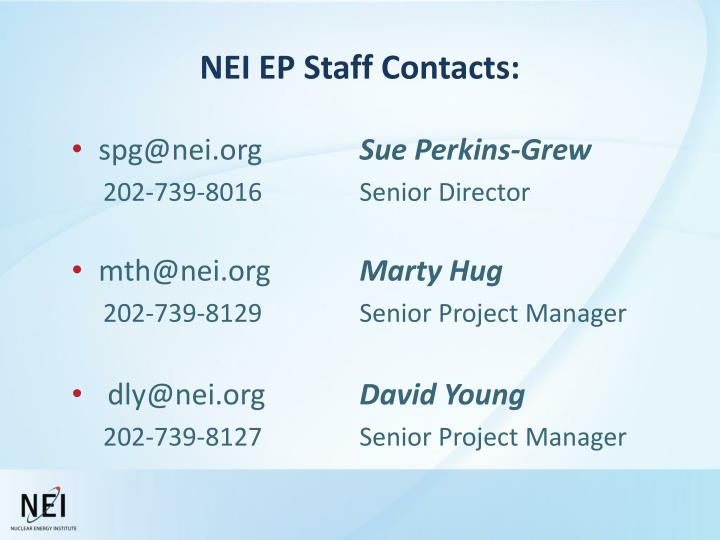 NEI EP Staff Contacts: