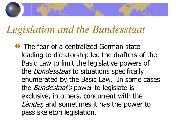 Legislation and the Bundesstaat