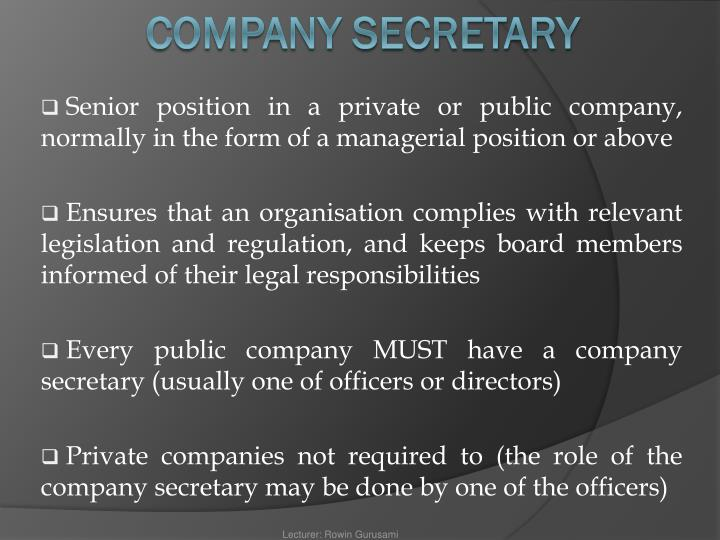 Senior position in a private or public company, normally in the form of a managerial position or above