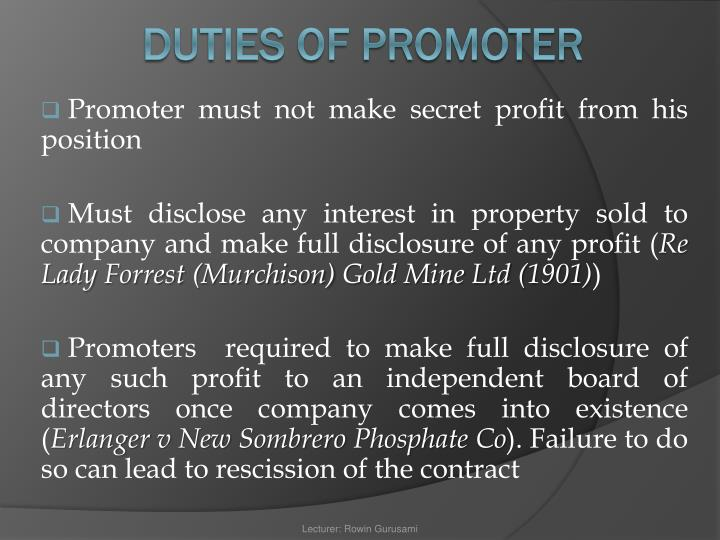 Promoter must not make secret profit from his position
