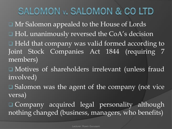 Mr Salomon appealed to the House of Lords