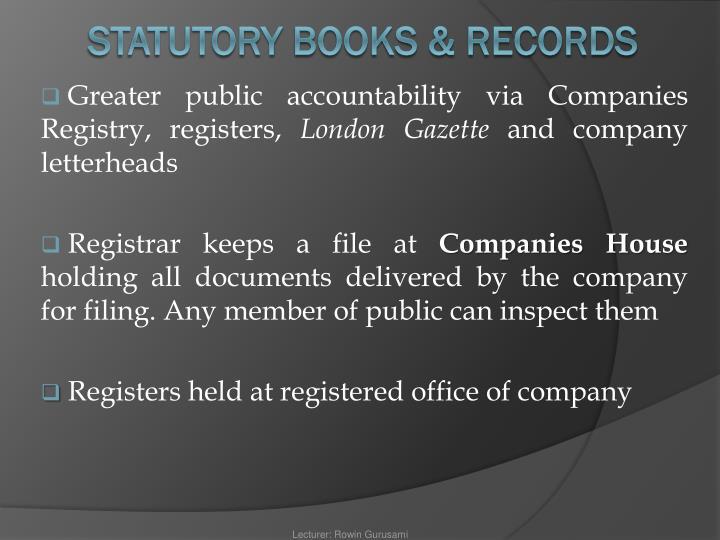 Greater public accountability via Companies Registry, registers,