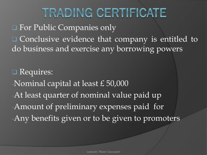 For Public Companies only