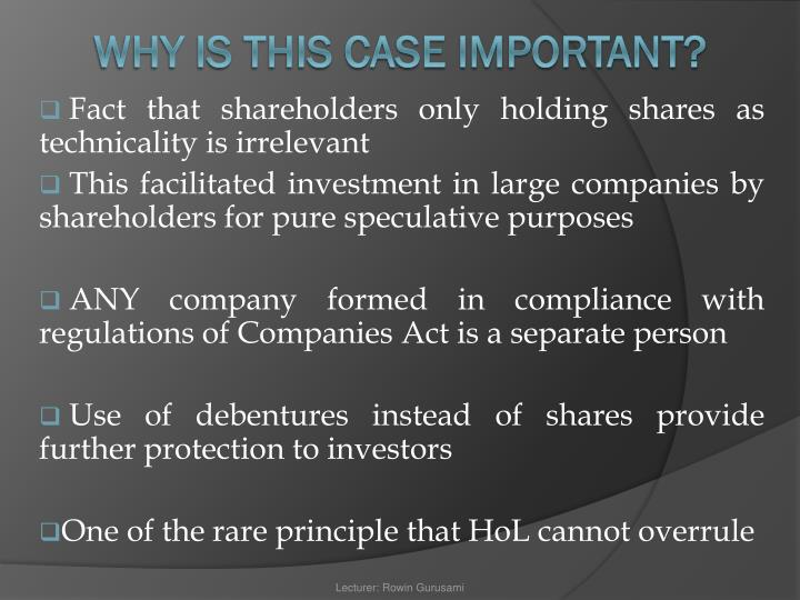 Fact that shareholders only holding shares as technicality is irrelevant