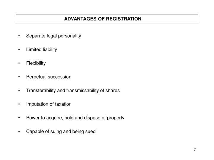 ADVANTAGES OF REGISTRATION