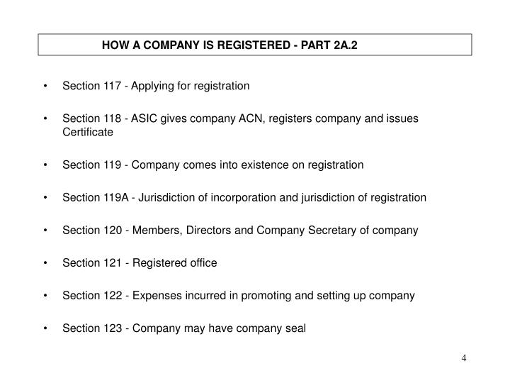 HOW A COMPANY IS REGISTERED - PART 2A.2