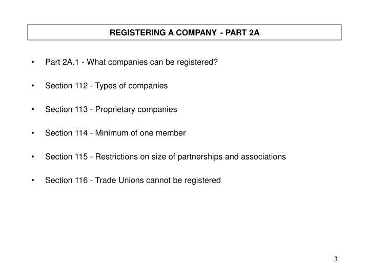 REGISTERING A COMPANY- PART 2A