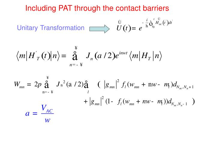 Including PAT through the contact barriers