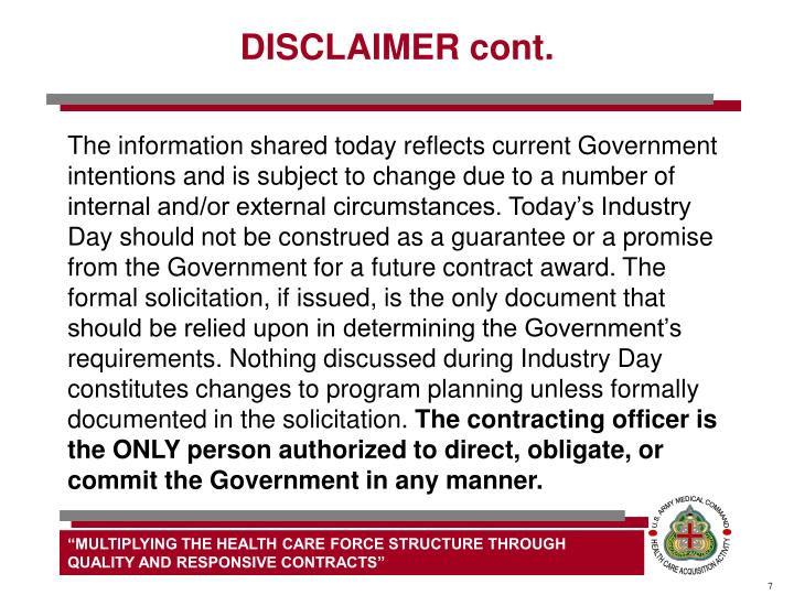 DISCLAIMER cont.