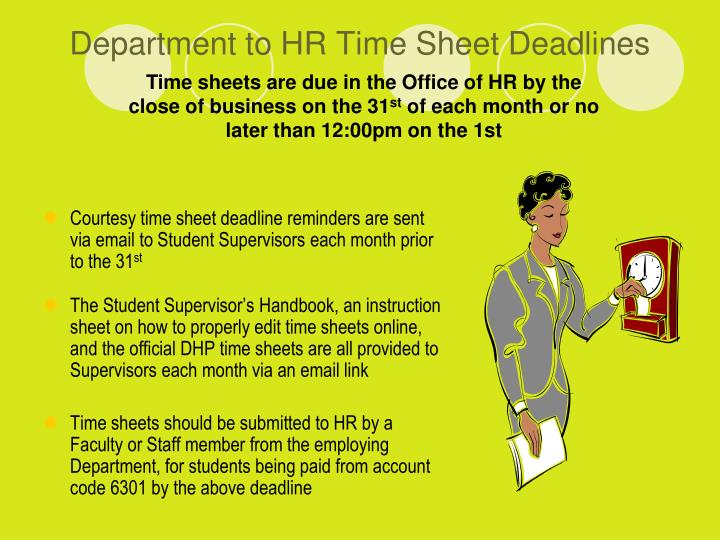 Department to HR Time Sheet Deadlines