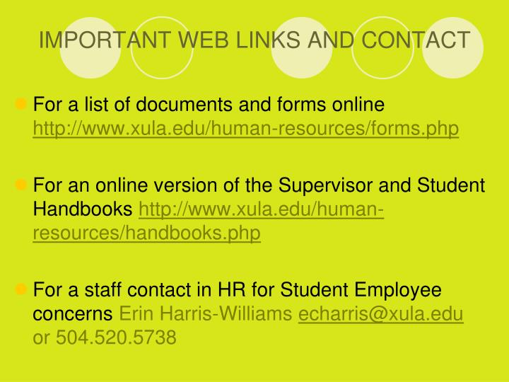 IMPORTANT WEB LINKS AND CONTACT