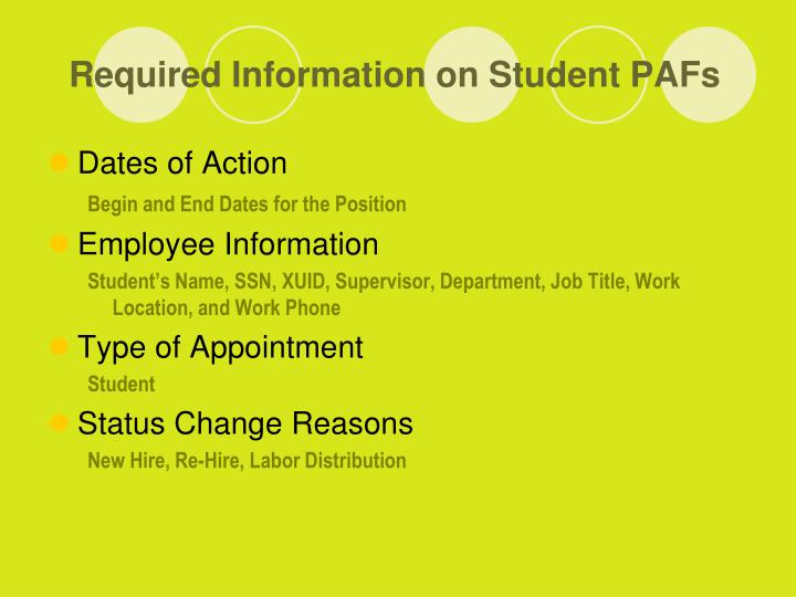 Required Information on Student PAFs