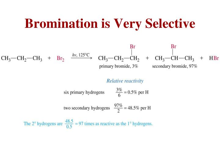 Bromination is Very Selective