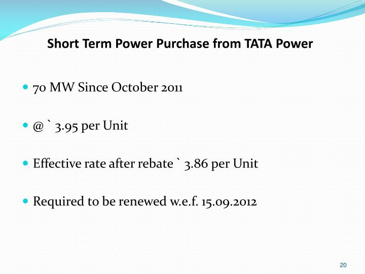 Short Term Power Purchase from TATA Power