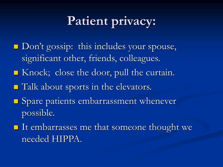 Patient privacy: