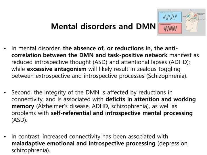 Mental disorders and DMN